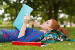 Gorgeous serious student lying on grass reading notes Royalty Free Stock Photos