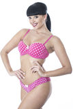 Gorgeous Sexy Cute Glamorous Pin Up Model Posing in Pink Polka Dot Lingerie Stock Photo