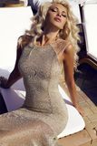 Gorgeous sexy woman with blond hair in luxurious dress Stock Photos