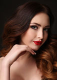 Gorgeous woman with dark hair and bright makeup Royalty Free Stock Photography