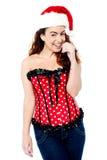 Gorgeous sexy woman wearing santa cap Royalty Free Stock Photo