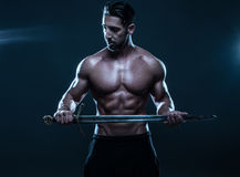 Gorgeous Shirtless Muscled Man Holding a Sword Stock Photos