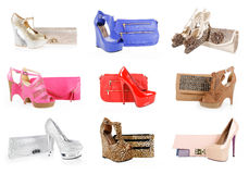 Gorgeous shoes and clutch bags collection Stock Photos