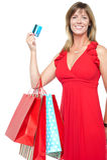 Gorgeous shopaholic woman in beautiful dress royalty free stock photos