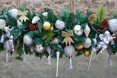 Gorgeous silver garland of Christmas decorations Royalty Free Stock Images