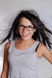 Gorgeous smiling bride princess in tiara Stock Image