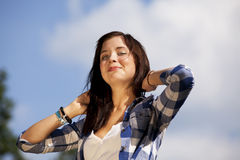 Gorgeous smiling brunette teenage girl Royalty Free Stock Photo