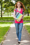 Gorgeous smiling student walking and carrying notebooks Royalty Free Stock Photos
