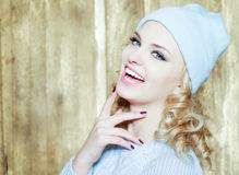 Gorgeous smiling woman with blond ringlets Stock Photos
