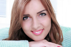 Gorgeous smiling woman portrait with makeup. Face skincare beauty woman happy, face of attractive woman smiling stock photo
