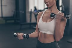 Gorgeous sportswoman working out with dumbbells at gym studio royalty free stock image