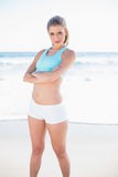 Gorgeous sporty blonde in sportswear posing Stock Photos