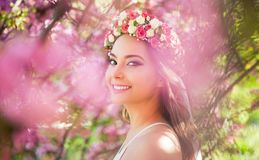Gorgeous spring makeup woman. Portrait of a gorgeous spring woman outdoors in nature Stock Photo