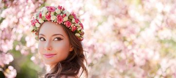 Gorgeous spring makeup woman. Stock Image