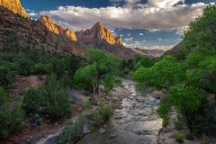 Gorgeous Spring View Of `the Watchman` Rock Formation And River Of Zion National Park In Utah Royalty Free Stock Images
