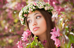 Gorgeous spring woman. Portrait of a gorgeous spring woman outdoors in nature Stock Image