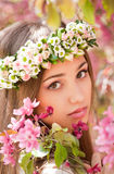 Gorgeous spring woman. Portrait of a gorgeous spring woman outdoors in nature Stock Photos