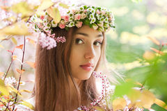 Gorgeous spring woman. Portrait of a gorgeous spring woman outdoors in nature Stock Images