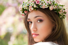 Gorgeous spring woman. Portrait of a gorgeous spring woman outdoors in nature Royalty Free Stock Photography