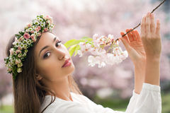 Gorgeous spring woman. Portrait of a gorgeous spring woman outdoors in nature Royalty Free Stock Images