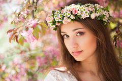 Gorgeous spring woman. Portrait of a gorgeous spring woman outdoors in nature Royalty Free Stock Photo