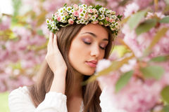 Gorgeous spring woman. Portrait of a gorgeous spring woman outdoors in nature Stock Photo