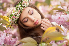 Gorgeous spring woman. Portrait of a gorgeous spring woman outdoors in nature Stock Photography