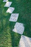 Gorgeous stone sidewalk on a lawn Royalty Free Stock Images