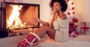 Gorgeous stylish young woman celebrating Christmas stock footage