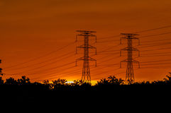 Gorgeous sunset. Beautiful sunset with silhouette  of a power line Royalty Free Stock Photos