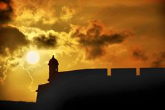 Sunset at El Morro in San Juan Puerto Rico. Gorgeous sunset over the historical landscape of El Morro locates in San Juan Puerto stock photos