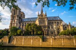 Gorgeous sunset over Notre Dame cathedral Royalty Free Stock Images
