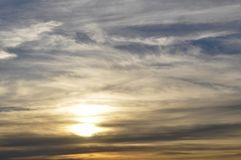 Gorgeous sunset strata cloudscape. Magical view of gorgeous sunset over cityscape stock images