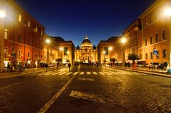 Gorgeous sunset of Vatican Cathedral stock photography