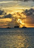 Gorgeous sunset in Saint Vincent and the Grenadines. Sailing ship view. stock images