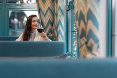 Gorgeous thoughtful woman estimating her life. Self assured. Meditative good looking charming woman drinking wine and sitting at cafe while staring through Stock Photography