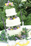 Gorgeous three tier wedding cake angle Stock Image