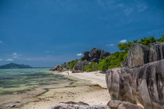 Gorgeous Tropical Beach In The Seychelles Stock Photos