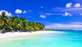 Gorgeous tropical white sandy beach with turquoise sea. Mauritiu Royalty Free Stock Photo