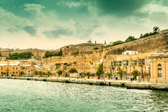 Gorgeous Valletta cityscape with embankment, view from the sea Stock Image