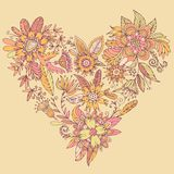 Gorgeous vector heart consisting of flowers. Heart of drawn vector flowers. Elegant flowers intertwined in a beautiful heart shape. High detail flower buds Stock Photos