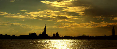Gorgeous venetian sunset. Panoramic view, Venice, 2007 Royalty Free Stock Photography
