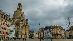 Gorgeous view of Baroque church - Frauenkirche, reconsecrated in 2005 after being destroyed in World War II in the center of Dresd royalty free stock photography