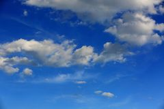 Gorgeous view of blue sky with snow white clouds. Beautiful backgrounds.  Stock Images