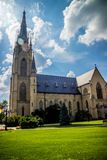 A gorgeous view of the campus while taking a stroll inside of Notre Dame stock photography
