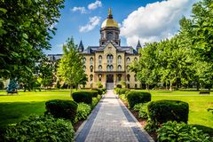 A gorgeous view of the campus while taking a stroll inside of Notre Dame royalty free stock photos