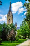 A gorgeous view of the campus while taking a stroll inside of Notre Dame royalty free stock image