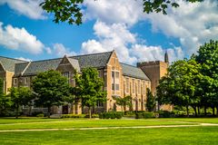 A gorgeous view of the campus while taking a stroll inside of Notre Dame royalty free stock photo