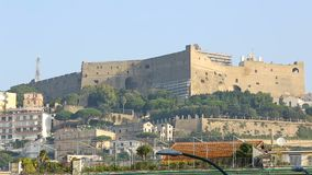 Gorgeous view on Castel Sant Elmo and embankment in Naples, tourism, sequence. Stock footage stock footage
