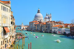 Gorgeous view of the Grand Canal with basilica Santa Maria della Salute Royalty Free Stock Photos